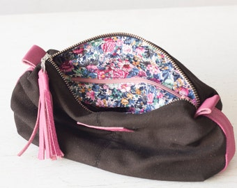 Cosmetic bag in black canvas and pink leather, makeup case, accessory bag, zipper pouch, utility bag - Ariadne makeup bag