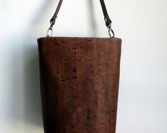 Cork bucket tote with leather strap, Brown cork handbag, water resistant cork bag by Nobel King