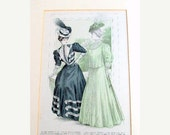 """VALENTINES SALE Vintage Womans Pattern Ad, Illustration, cr. 1906, Matted and Backed, Fashion, Advertising, Antique,11x 14""""    I Take Credit"""