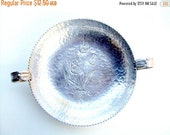 VALENTINES SALE Vintage Rodney Kent Hand Wrought Aluminum Serving dish with Ribbon Handles, cr. 1930, Signed   I Take Credit Cards