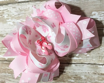 Pink Ballerina Hair Bow, Ballet Slippers, Baby Headband, Infant Headband, Newborn Headband, Flower Girl, Baby Shower, School Bow, Dance Bow