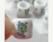 50% OFF - 8 Porcelain Mini Mug Beads Charm VOLLEY BALL/Beach Volley Sport Theme for your Project