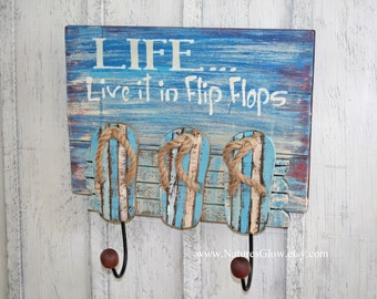 Flip Flop Sign - Flip Flop Towel Holder - Beach Hooks - Tropical Wall Decor -Wood Planks -Beach House Decor -Tropical Wall Hooks -Flip Flops