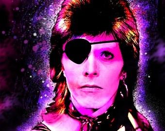DAVID BOWIE 13 x 19 Digital Painting Print Custom Art Rock and Roll Punk Metal Musician Mancave