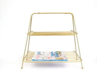 Mid Century Two Tier Magazine Rack, Newspaper Caddy, Storage tote, Metallic Gold, Wire shelving