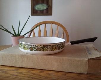Mid Mod Green White Ceramic Porcelain Olive Vine 9 in Open Saute Pan NEW NOS