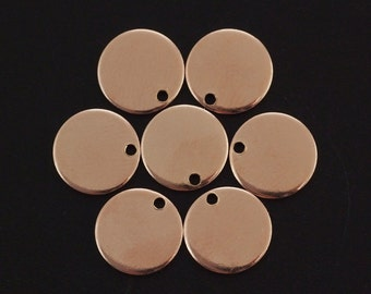 2 - 14kt Rose Gold Filled Drops Discs Blanks 9mm - Easy to Stamp - Includes Handmade Jump Rings - 100% Guarantee