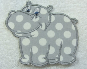 Iron on Hippo Fabric Embroidered Iron On Applique Patch Ready to Ship