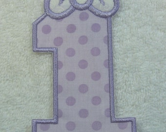 Number 1 with Bow  Iron on Fabric Embroidered Iron On Applique Patch Ready to Ship