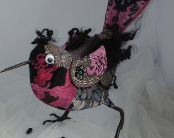 Textile Bird Soft Figurine Sculpture Art Home interior
