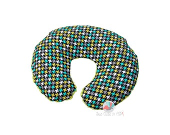 SHIPS TODAY- Lagoon Houndstooth Boppy Cover- minky back
