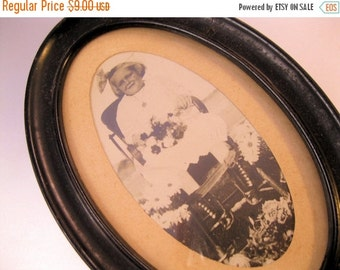 BIGGEST SALE of the Year Antique Photo of Little Girl in High Chair with Flowers Framed