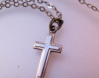 "Petite Sterling Cross Pendant Necklace Childrens Cross 15"" Signed THEDA Vintage Jewelry Jewellery"