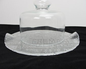 Vintage glass cheese tray with domed lid embossed cheese names
