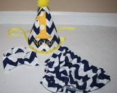 navy blue and yellow baby boys first birthday outfit, boys 1st birthday outfit, cake smash set, 1st birthday hat, boys birthday outfit