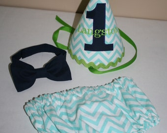 first birthday cake smash outfit for boy 1st birthday outfit teal blue , navy blue, lime green diaper cover bow tie birthday hat