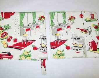 2 Handmade Potholders, 50s Kitchen Fabric, Kitchen, Hot Pads