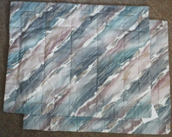 Two PILLOW SHAMS, Blue, Gray, White, diy, FABRIC, Pillow Covers, Home Decor, Upcycle, Re-use, Recycle, Vintage, Pillow Case