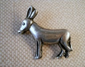 Cool Little Vintage Sterling Silver Donkey Pin