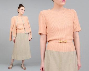 Vintage 80s does 50s Sweater Dress - 2 Piece Suit - ALLIGATOR Skinny Belt - Knit Midi Dress - Retro Cardigan - Pink Peach Medium M