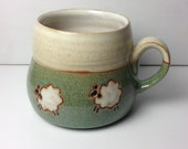 Sheep mug--green/cream