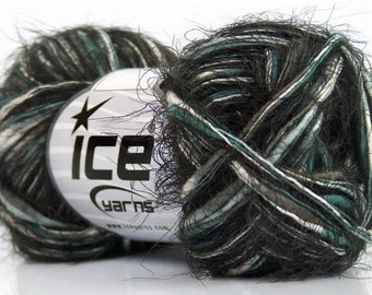 Zinnia #41699 Nyx - Black Turquoise Grey White Soft Eyelash Blend Yarn 50g 60yds