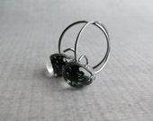 Small Black Hoops, Black Metallic Earrings, Black Earrings, Black Lampwork Earrings, Dark Hoops, Oxidized Sterling Silver Wire Earrings