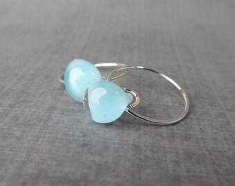 Small Powder Blue Earrings, Small Wire Hoops Blue, Blue Lampwork Drop Hoops, Lampwork Earrings, Blue Glass Drop Earrings, Sterling Silver