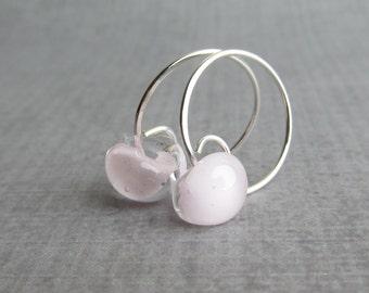 Blush Pink Hoop Earrings, Pale Pink Earrings, Small Hoops, Small Sterling Wire Earrings, Sterling Silver Hoops, Pale Pink Lampwork Earrings