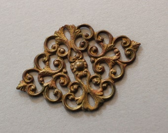 Oxidized Brass Diamond Filigree