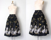 o n h o l d........vintage 1950s novelty skirt / 50s novelty dog print skirt / Dog Walker