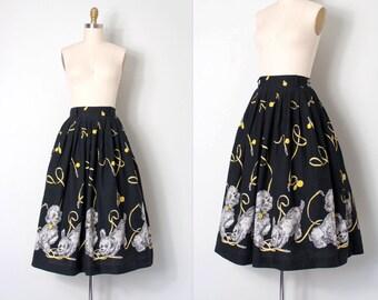 vintage 1950s novelty skirt / 50s novelty dog print skirt / Dog Walker