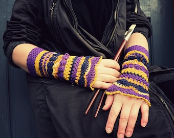 Color palette: Byzantium - crocheted open work multicolored wrist warmers mittens cuffs gipsy boho style