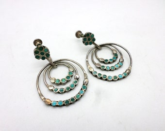 SALE Dishta Style Screw Back Earrings Vintage Turquoise and Sterling Silver Concentric Circle