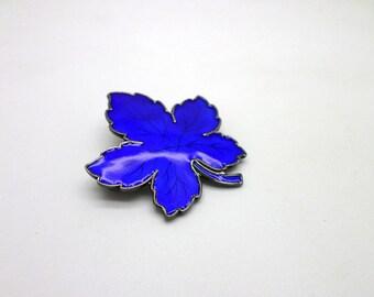 Denmark Leaf Pin Brooch by Meka Cobalt Blue Enamel and Sterling Silver Gorgeous Color