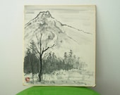 Japanese Shikishi Mountain Landscape Picture Original Painting