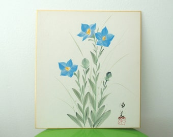 Blue Flower Painting Japanese Shikishi Home Decor With Kanji Signature