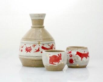 Ceramic sake set, Japanese Sake Set,  wedding gift , woodland theme