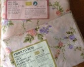 Vintage Sears Perma Prest Full Flat Sheet & 2 Pillowcases NIP Twilight Rose