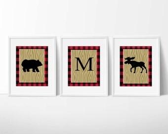 Lumberjack Buffalo Plaid Bear and Moose Wall Art / Prints Only / Faux Wood and Plaid