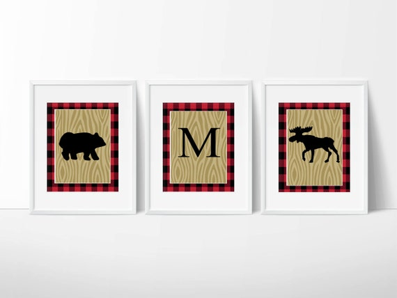 Lumberjack Buffalo Plaid Bear and Moose Wall Art / Prints Only ...