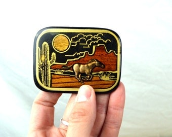 Vintage 1970s 70s Hippie Solid Brass Wood Resin Abstract Desert Horse Belt Buckle - Harmony Metals - Colorao USA