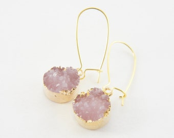 synthetic rose pink druzy light gold kidney wire earrings, trendy, party, light weight