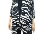Kimono cardigan - Charcoal black, gray and white- Zebra like Chiffon  Ruana cardigan -Layering piece-Many colors
