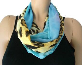 Chiffon infinity scarf,Blue safari,Leopard/animal print and sea blue ,chiffon infinity Scarf/ cowl Instant gratification