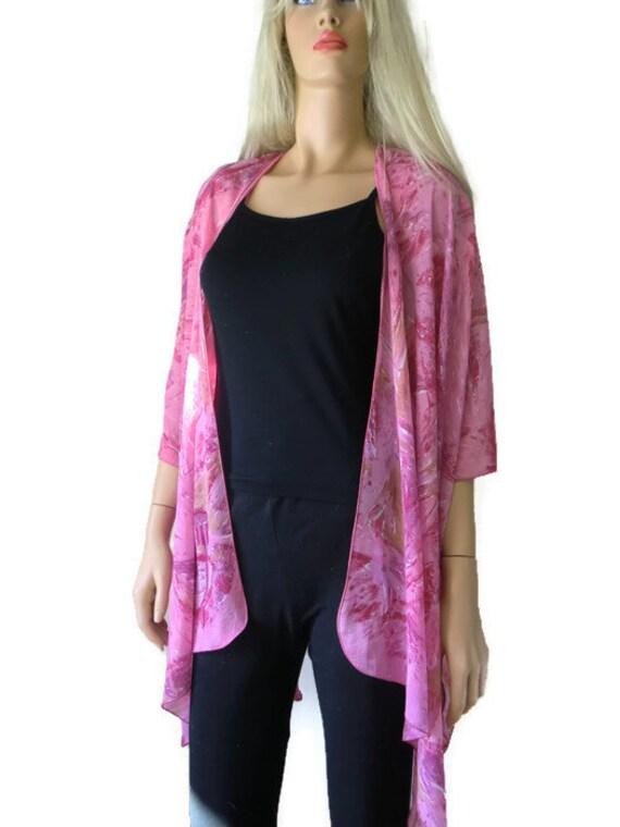 Kimono cardigan Pretty Pink-Chiffon pink Ruana-chiffon