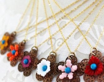 20% off Delicate Flower Filigree Boho Necklace - Colorful Flower Necklace