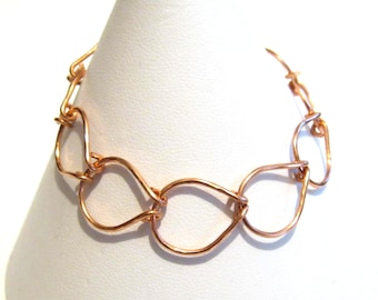 Hammered Teardrop Copper Bracelet, Wide Chain Bracelet, Gift for Her, Copper Links, Made to Order, Hook Clasp, Christmas, Anniversary