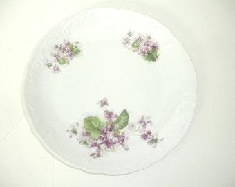 China Plate Lavender Violets White Vintage Decorative Plate Shabby Cottage Chic