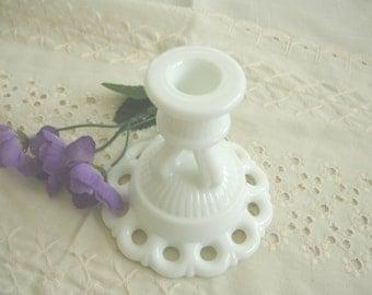 Milk Glass Candle Holder Vintage Westmoreland Open Lace Doric